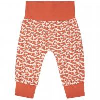 Leichte Babyhose Vogel-Druck orange
