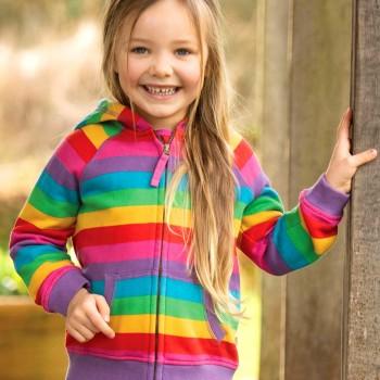 Kuschlige Sweatjacke Regenbogen-Design