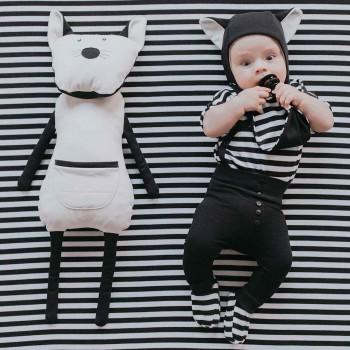 Kuscheltier mit Rucksack Katze schwarz-weiß 70cm