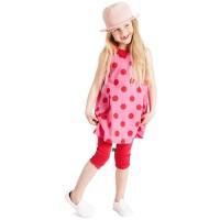Vorschau: 3/4 Kinder Leggings - schicke Raffung am Knie - rot