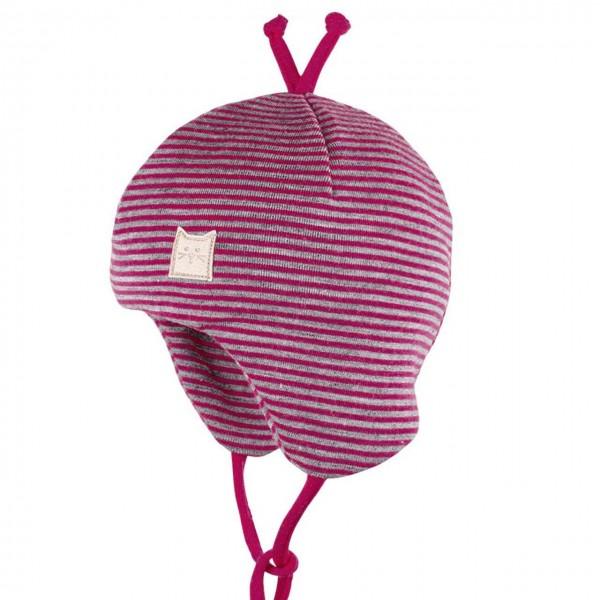 Erstlingsmütze Wolle Seide Doppellagig pink