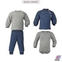 Vorschau: Woll Fleece Pullover Holzknöpfe blau