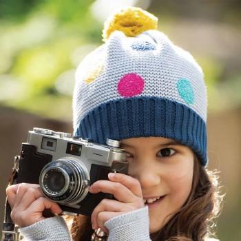Warme Mädchen Bommel Mütze in grau