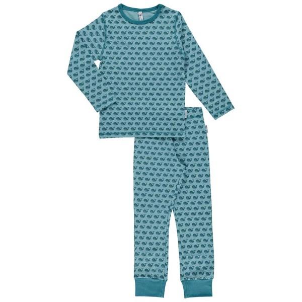 Langarm Schlafanzug blaue Wale