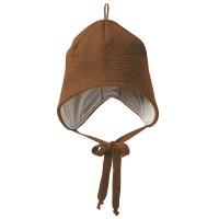 Wolle Wintermütze breiter Ohrenschutz braun