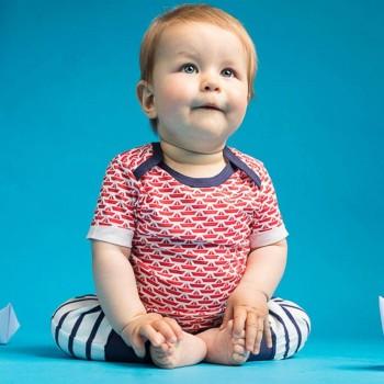 Babyshirt kurzarm Segelboote rot