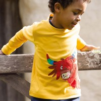 Langarmshirt Bullen-Aufnäher gelb