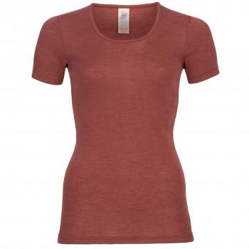 Wolle Seide Damen kurzarm Shirt kupfer-braun