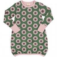 Ballon Kleid langarm elastisch Ringelblumen in grün
