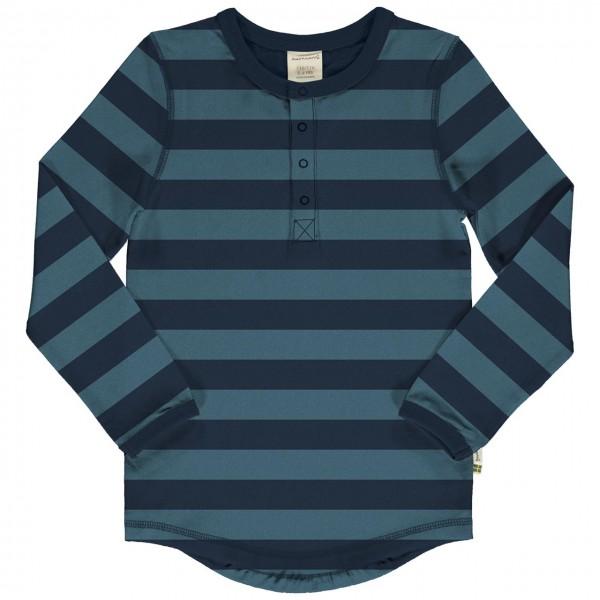 Langarmshirt Knopfleiste Slim Fit navy-blau