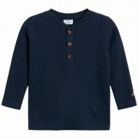 Navy Langarmshirt zum Knöpfen in navy