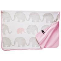 Bio Babydecke Elefanten-Familie pastellrosa