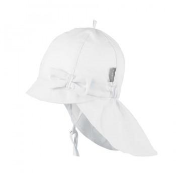 Weiße Sommer Mütze Schleife Nackenschutz