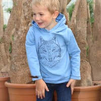 Cooler Wolfs Pullover pastellblau