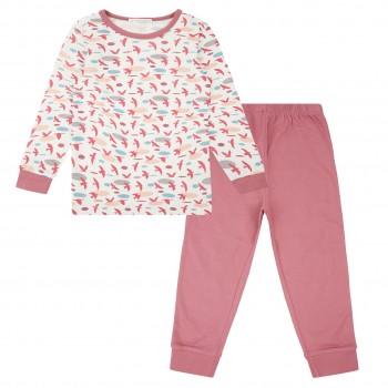 Mädchen Pyjama Vogel altrosa