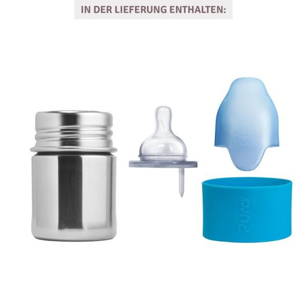 Pura kiki Babyflasche Edelstahl mit langsamen Sauger - blau