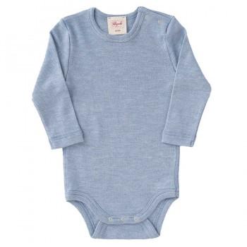 Baumwolle Wolle Seide Body langarm hellblau
