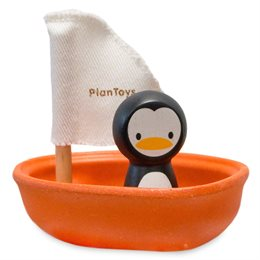 Segelboot mit Pinguin