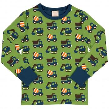 Baufahrzeuge Shirt langarm in grasgrün
