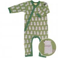 Baby Strampler mit Fußumschlag - Murmeltier grün
