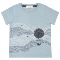 Ballon-Print Shirt kurzarm hellblau