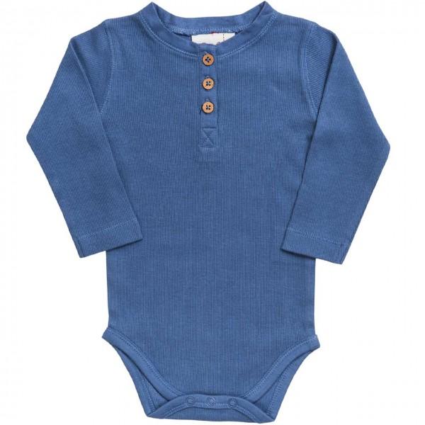 Henley Body langarm in jeansblau