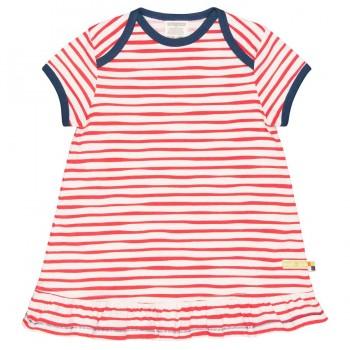Streifen Kleid kurzarm rot