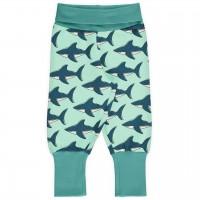 Mitwachsende Krabbelhose Bündchen Haie mint