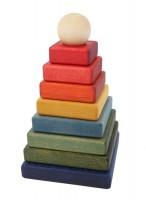 natürliche 10-tlg Pyramiden Steckspiel Regenbogen