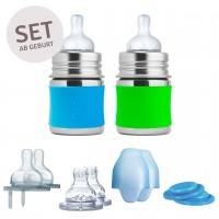 2 Babyflasche Edelstahl Geschenkeset ab Geburt grün blau