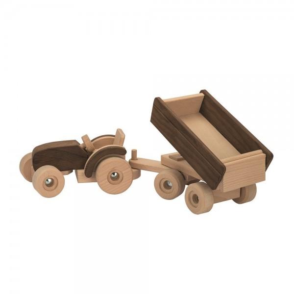 Bauernhof Holzspielzeug natur grosser  Traktor mit anhänger kippbar