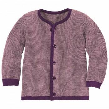Leichte warme Strickjacke Wolle atmungsaktive lila