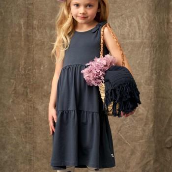 Hochwertiges Kleid Stufenlook dunkelblau