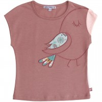 Sommer Shirt Vogel-Aufnäher in altrosa