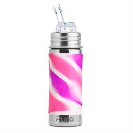 Edelstahl Flasche mit Trinkhalm ab 12 M - open end pink