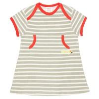 Robustes leichtes Kleid Streifen oliv-grün