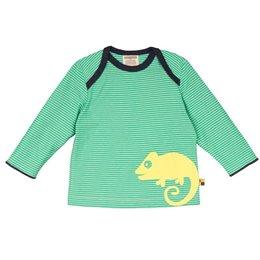 Loud and Proud Shirt langarm Ringel grün mit Gecko
