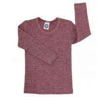 Atmungsaktives Wolle Seide Baumwolle Shirt weinrot