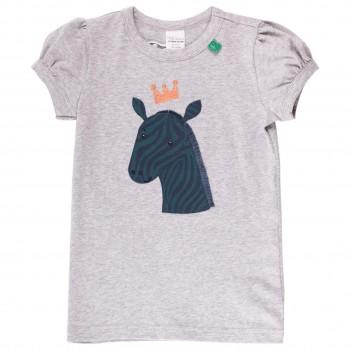 Mädchen kurzarm Shirt Zebra Puffärmel