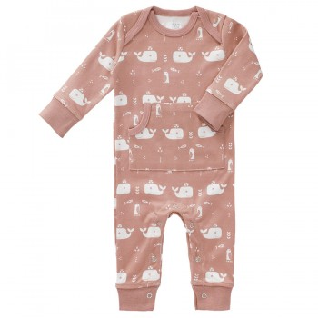 Strampler ohne Fuss Wale Playsuit rosa