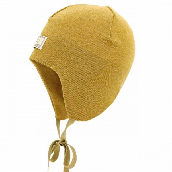 Pickapooh leichte Babymütze Wolle-Seide senf