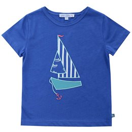 Bio T-Shirt royal Segelboot Aufnäher