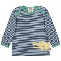 Leichtes Ringel Shirt langarm dunkelblau Tiermotiv