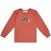 Langarmshirt Waschbär-Aufnäher rost-orange