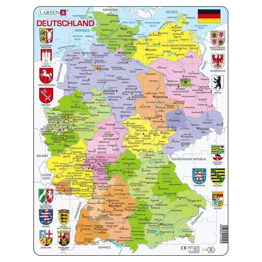Lernpuzzle Bundeslander Karte Ab 6 Jahre