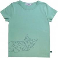 Shirt kurzarm grün Katze gestickt