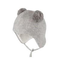 Fleece Wintermütze innen Baumwolle hellgrau