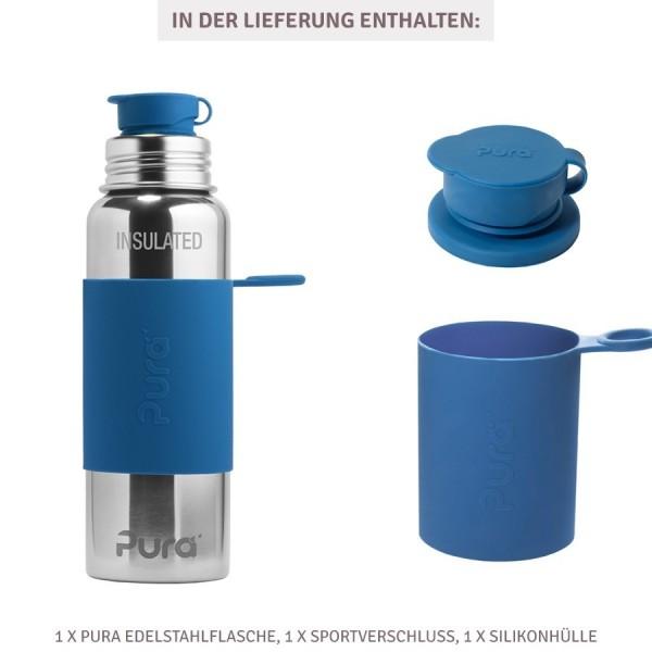 Grosse Pura Edelstahl Trinkflasche 800 ml marine