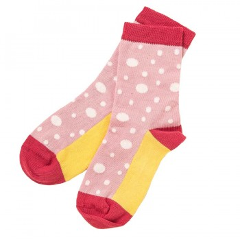 Rosa Feinstrick Socken gepunktet