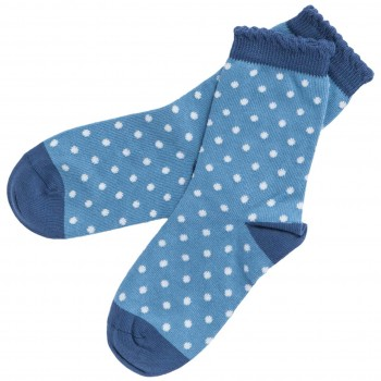 Kinder Socken gepunktet blau